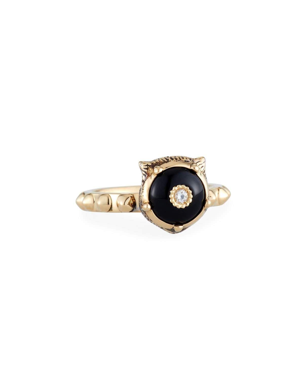 19e905f814b 18k Gold Le Marche des Merveilles Onyx Feline Ring