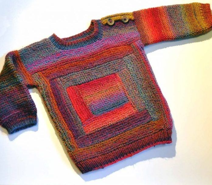 Knitting Pattern for Log Cabin Baby Sweater | kézimunka | Pinterest ...