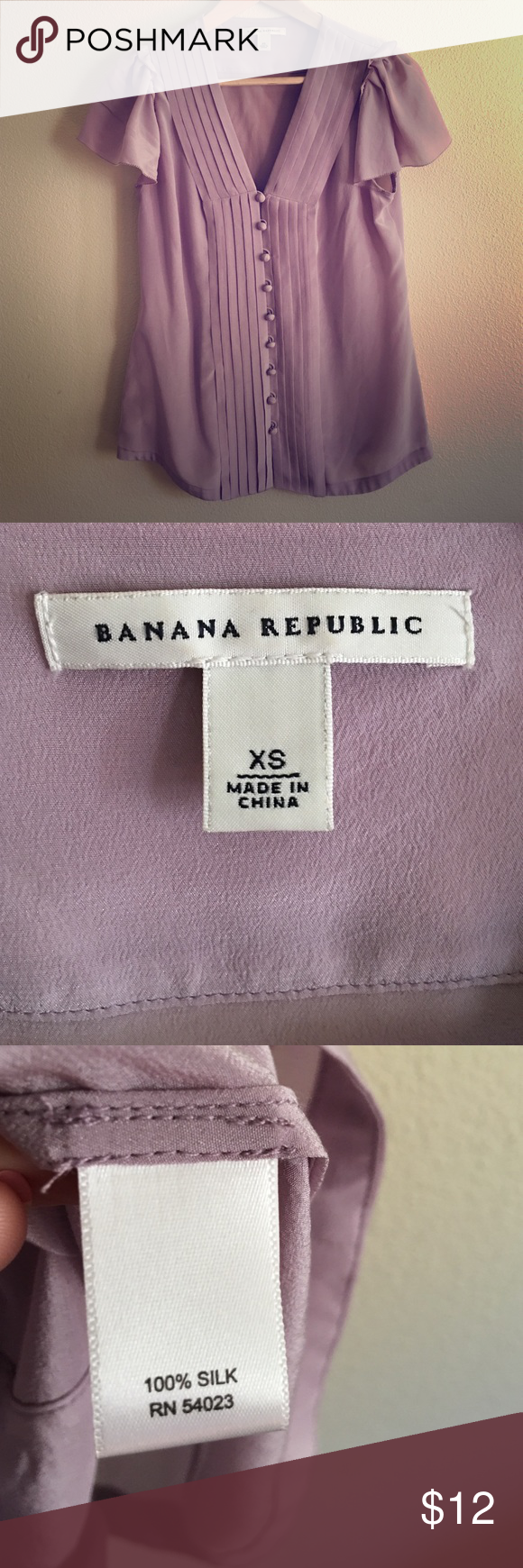 Pastel purple Banana Republic silk top Never worn. 100% silk top with lovely fabric covered buttons. Flowey and great for summer. The last photo does not show the true color, the others look pretty true to color. Banana Republic Tops Blouses