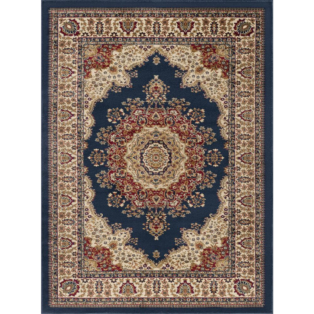 Tayse Rugs Sensation Navy Blue 5 Ft X 7 Ft Traditional Area Rug