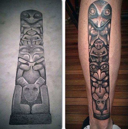 70 Totem Pole Tattoo Designs For Men Carved Creation Ink Totem Tattoo Totem Pole Tattoo Tattoo Designs Men