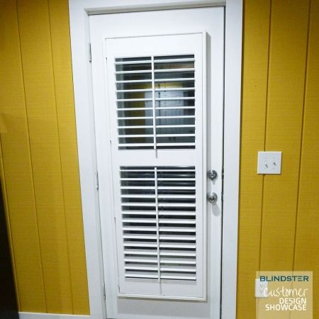 Customer Showcase - Fauxwood Plantation Shutters - in Front Room Door - color: White