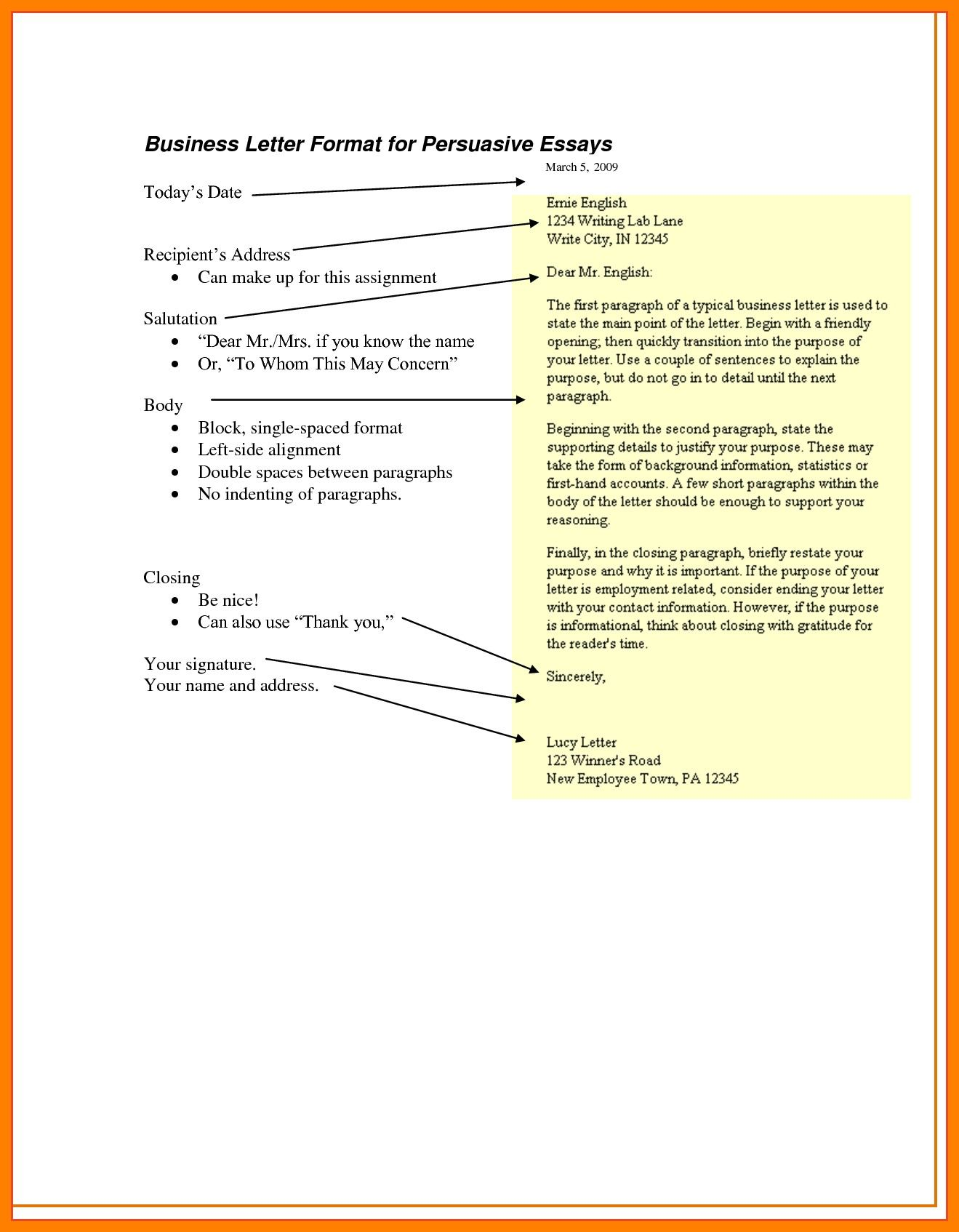 Example Persuasive Business Letter format Best 7
