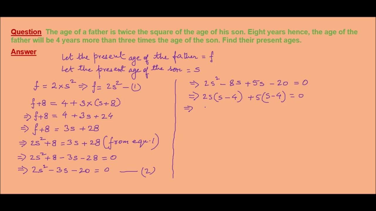 a word problem on quadratic equations | online math tutor tutorials