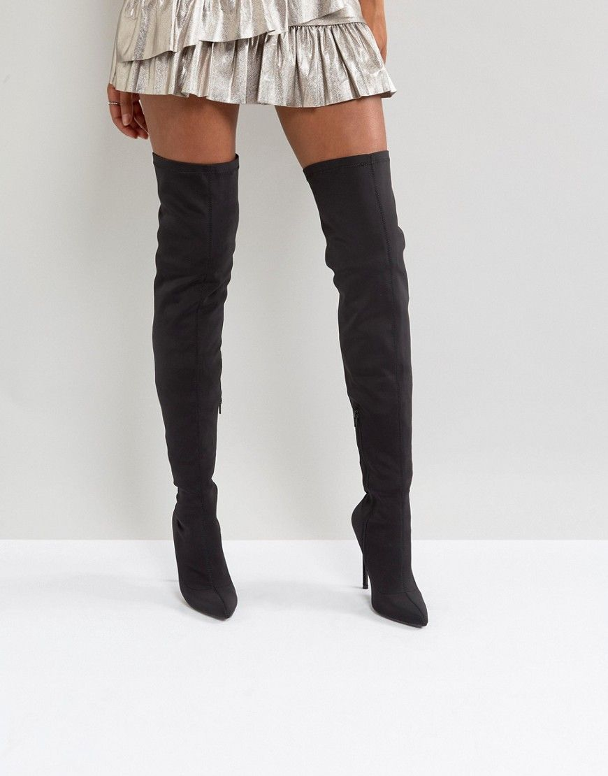39a3f999a62 Truffle Collection Stiletto Thigh High Boot - Black