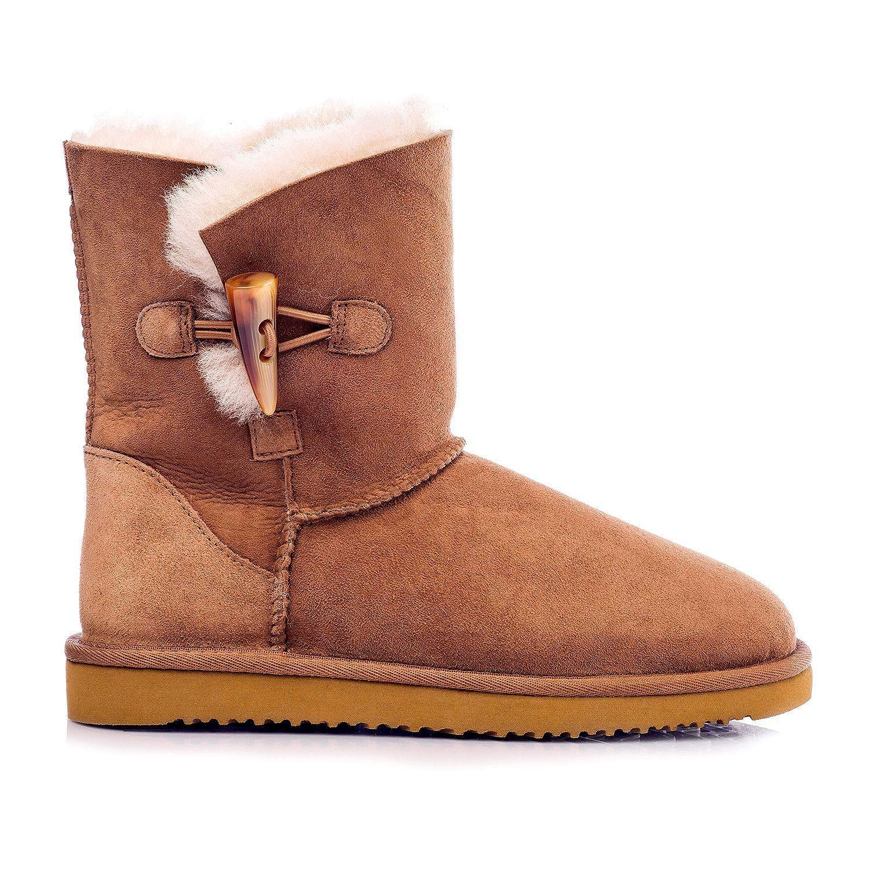 Cozie Steps 100% Genuine Australian Sheepskin Toggle Boot Sz 9 Chestnut NIB