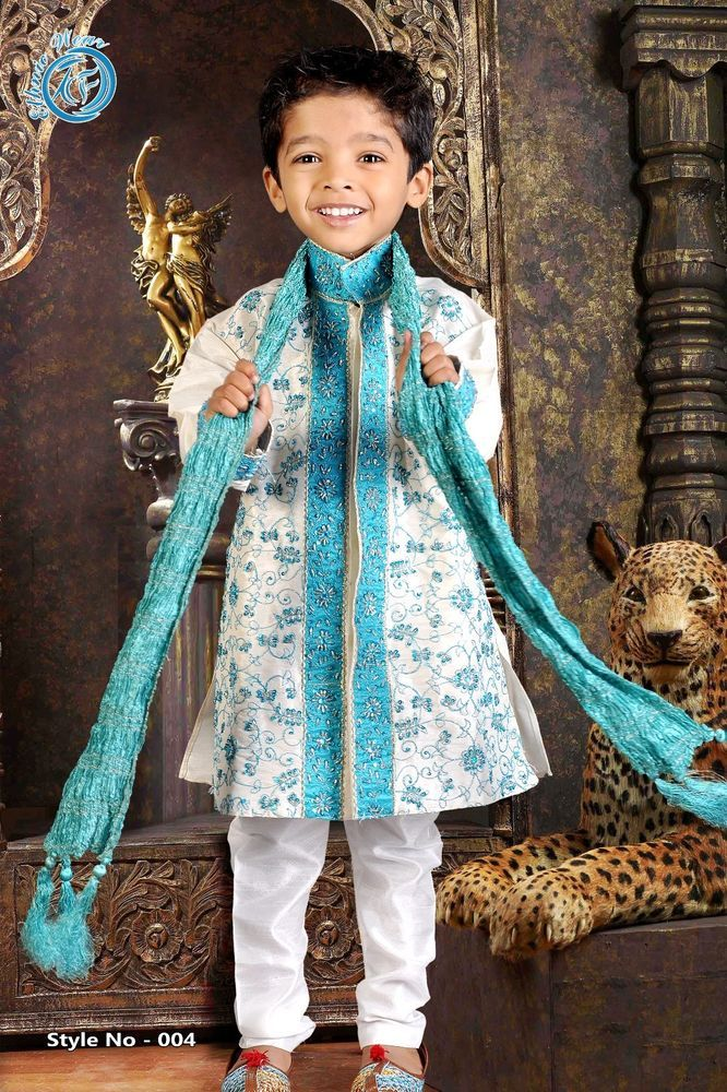 Details About New Indian Kurta Sherwani Boys Suit In Gold 2 Pcs 1