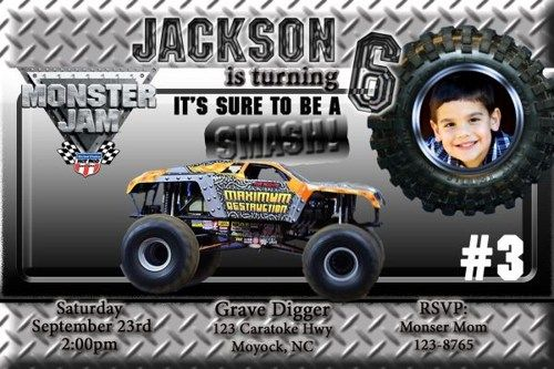 20 Printed Monster Truck Grave Digger Maximum Birthday Invitation
