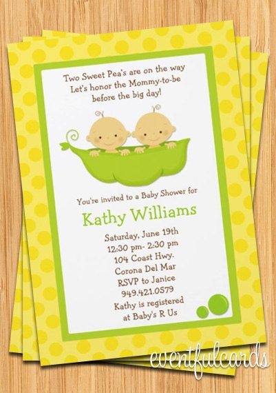 Twins baby shower invitation two peas in a pod shower twins baby shower invitation two peas in a pod filmwisefo Image collections