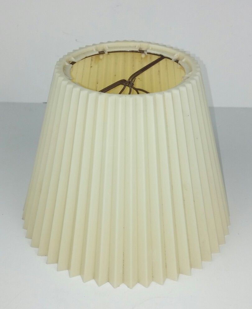 Lamp Shade Plastic Cream Pleated Accordion Washable Clip On Small 6 Tabletop Unbranded Contemporary Lamp Shade Lamp Table Top