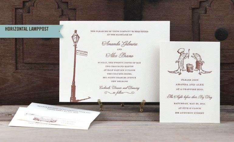 Wedding Invitations New Orleans: Dancing Gator & Lamp Post Letterpress Wedding