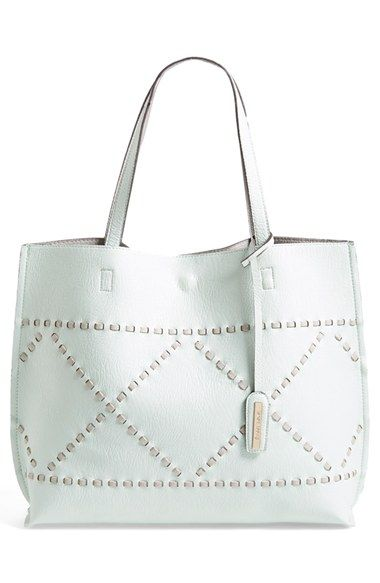 Ann Taylor Women/'s Laser Cut Leather Spring Everyday Tote Purse Bag White