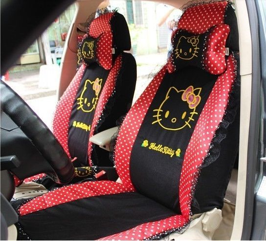 19 PCs Hello Kitty Lace Ice Silk Car Seat Covers Steering Wheel Cover For Summer
