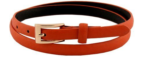 Womens Lovely Feather Edge Faux Leather Skinny Belt
