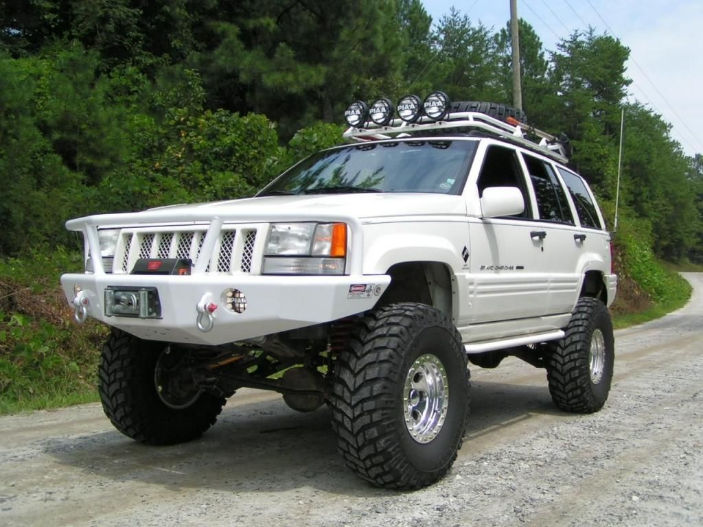 custom white jeep zj monster cherokee jeep grand. Black Bedroom Furniture Sets. Home Design Ideas