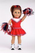 Cheerleader - Clothes for 18 inch Doll - 6 Piece Outfit - Blouse, Skirt, Headband, Pompons, Socks and Shoes #18inchcheerleaderclothes Go Team! - 6 piece cheerleader outfit includes blouse, skirt, headband, pompons, socks and shoes - 18 Inch Doll Clothes #18inchcheerleaderclothes