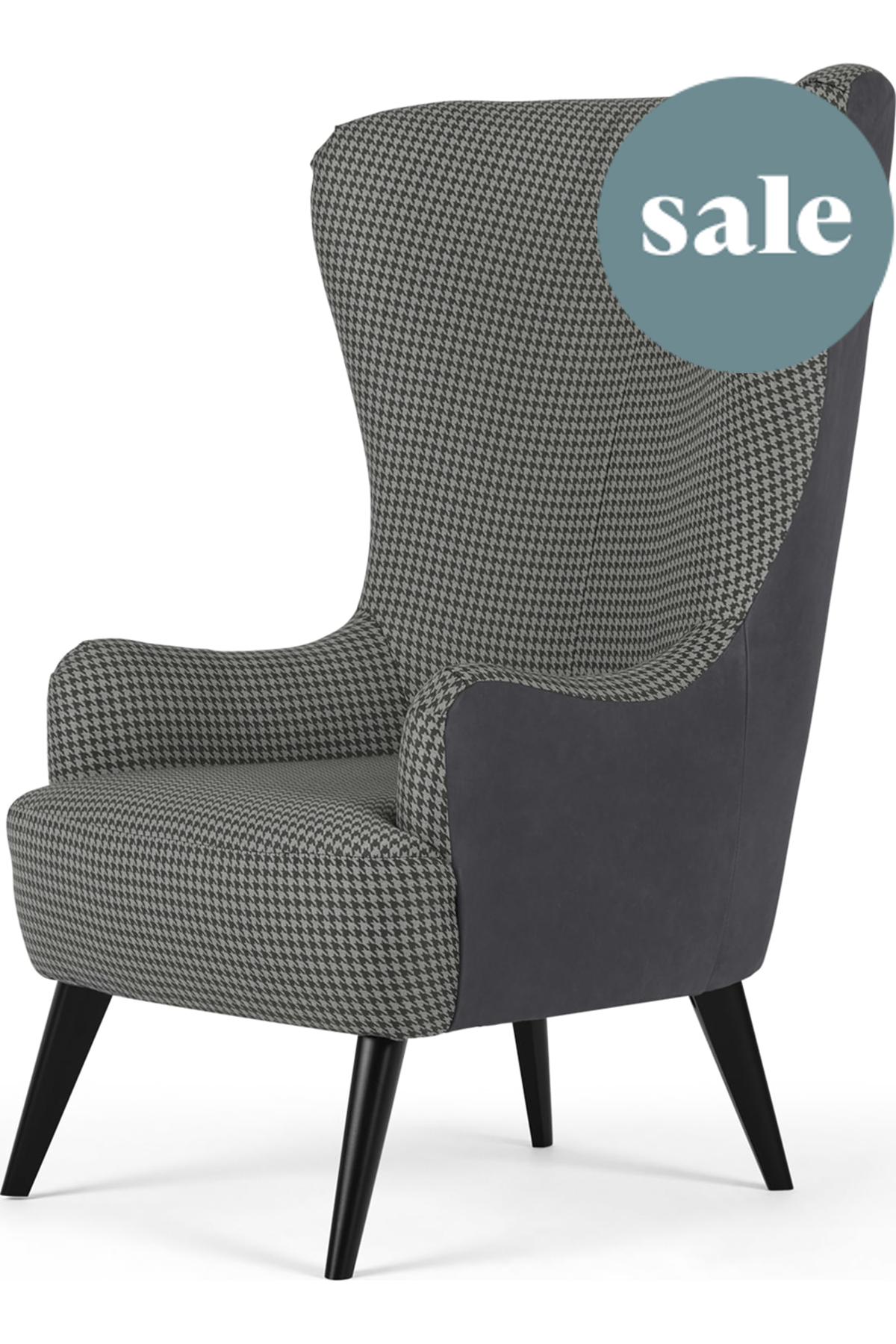 Bodil Accent Armchair Dogtooth Printed Seat And Leather Back