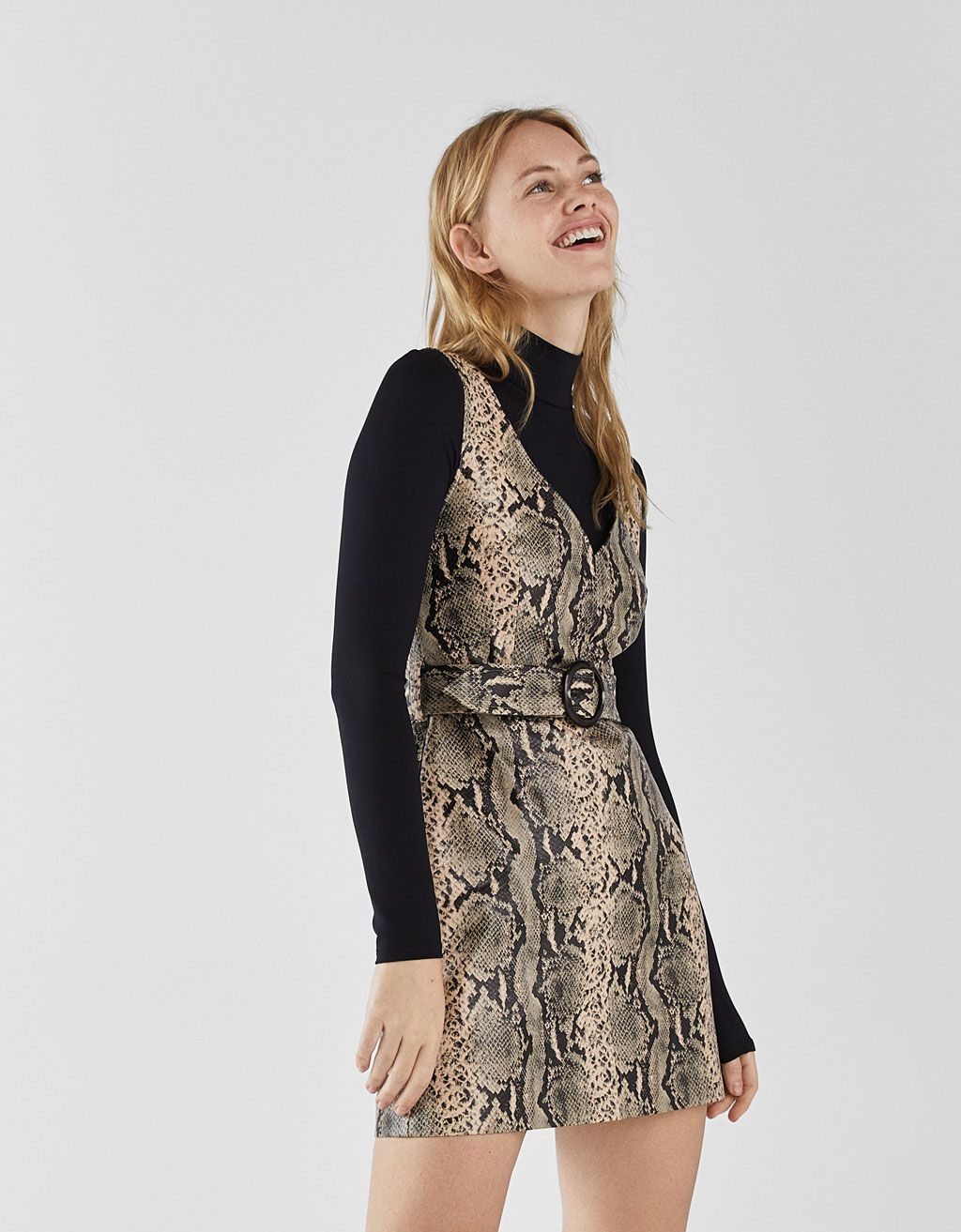 6c37638fe1a6 Snakeskin print faux leather dress in 2019 | DRESSES | Faux leather ...