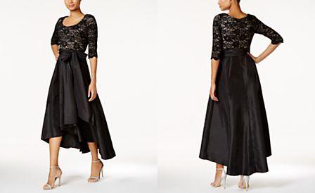 2a8bb7c84b75e R   M Richards Petite Sequined Lace High-Low Dress