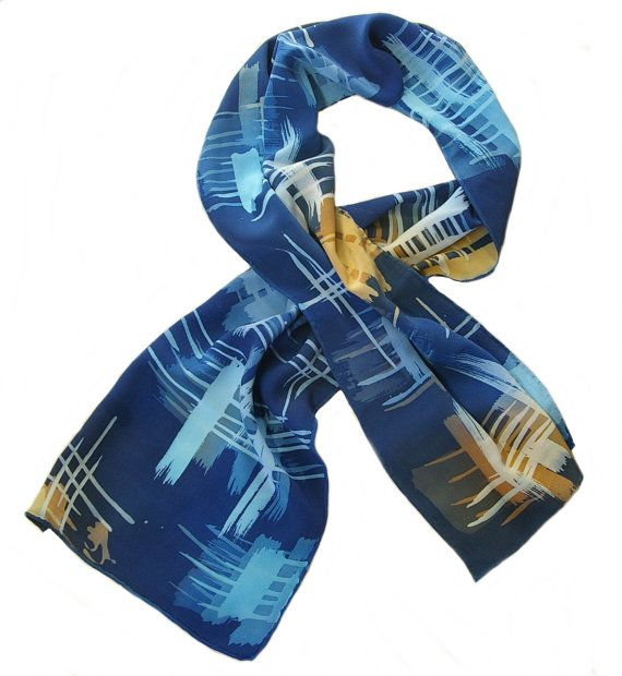 "Blues and Golds Over Navy Blue - Hand Painted Crepe De Chine Silk Scarf (approx.11x60 inches) by Laura Elderton ""Silkinart""  www.etsy.com/shop/lauraelderton"
