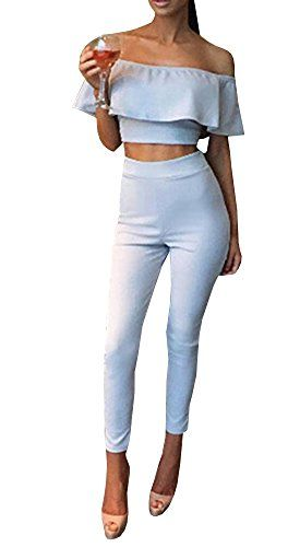 c2f4bc5e9e FISACE Women s Short Sleeve Off Shoulder Crop Top Bodycon Long Pant Playsuits  Rompers