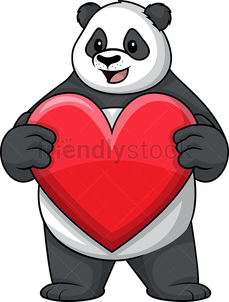 panda holding heart royalty free stock vector illustration of an adorable panda mascot character holding a big read heart friendlystock clipart cartoon  [ 796 x 1050 Pixel ]