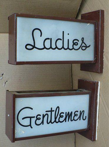 Vintage Matched Set Pair Mens Las Light Up Rest Room Signs Ebay