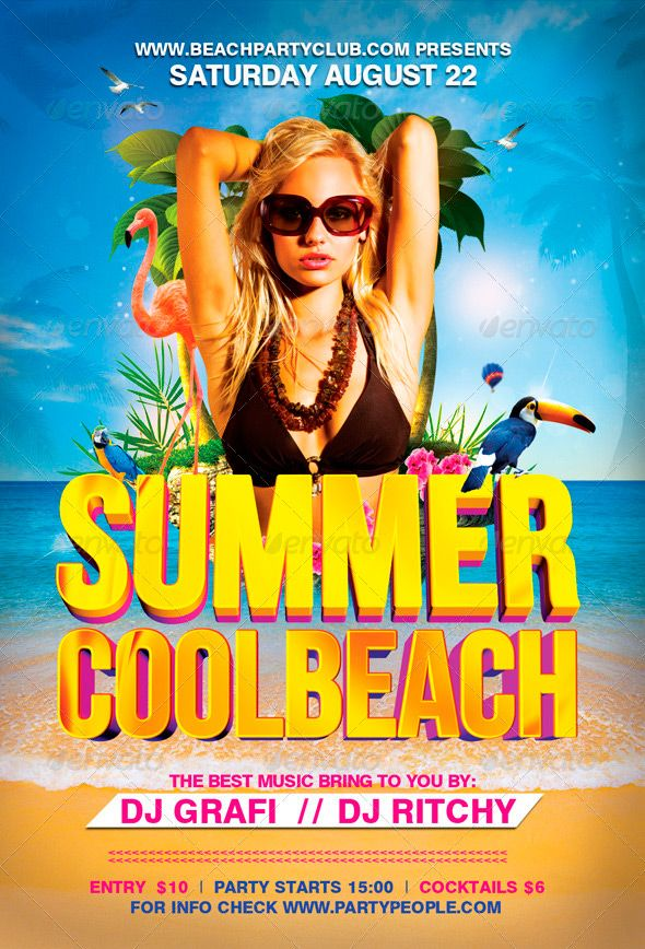 Summer Cool Beach Flyer Template - http\/\/wwwffflyer\/summer - pool party flyer template