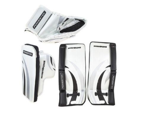 """New PowerTek Barikad V2.0 Youth Hockey Goalie Pad Set 24"""" Leg Pads Glove Blocker"""