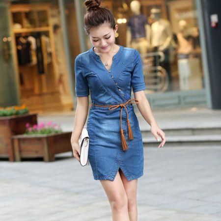 Mulher verão Vestido Jeans de manga curta Sexy Plus Size Casual Vestido de  brim Cowboys vestidos be92b1eeadf6