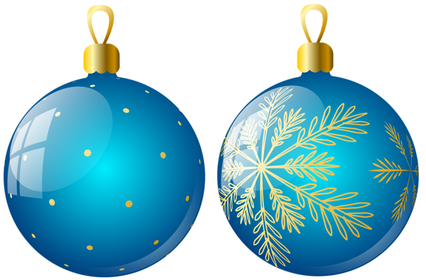 Transparent Two Blue Christmas Balls Ornaments Clipart Christmas