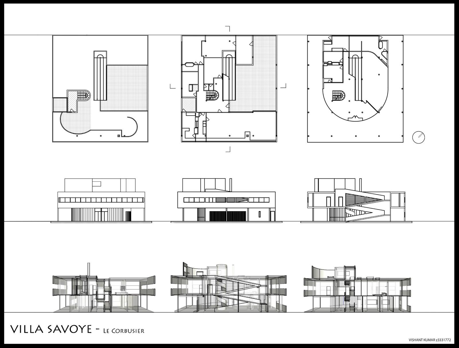 Elevations and plans of and sections through the villa - Arquitecto le corbusier ...