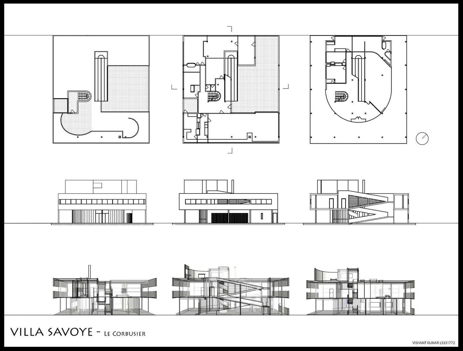 Villa Savoye Le Corbusier Floor Plan Elevations and plans o...