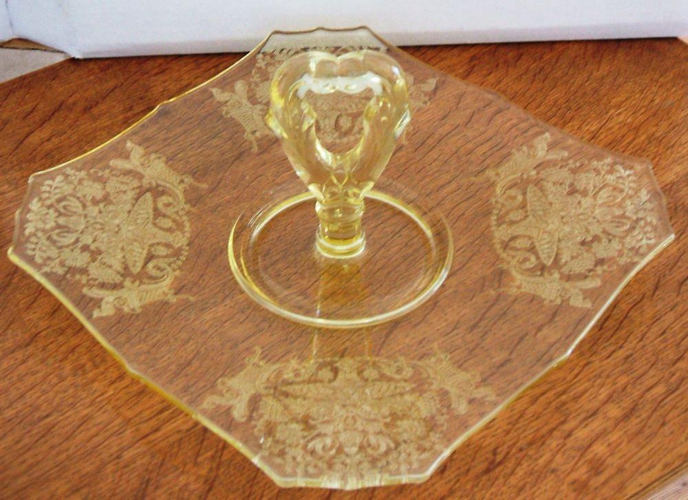 Paden City Gothic Garden Elegant Depression Glass Serving Tray 1930's #PadenCity