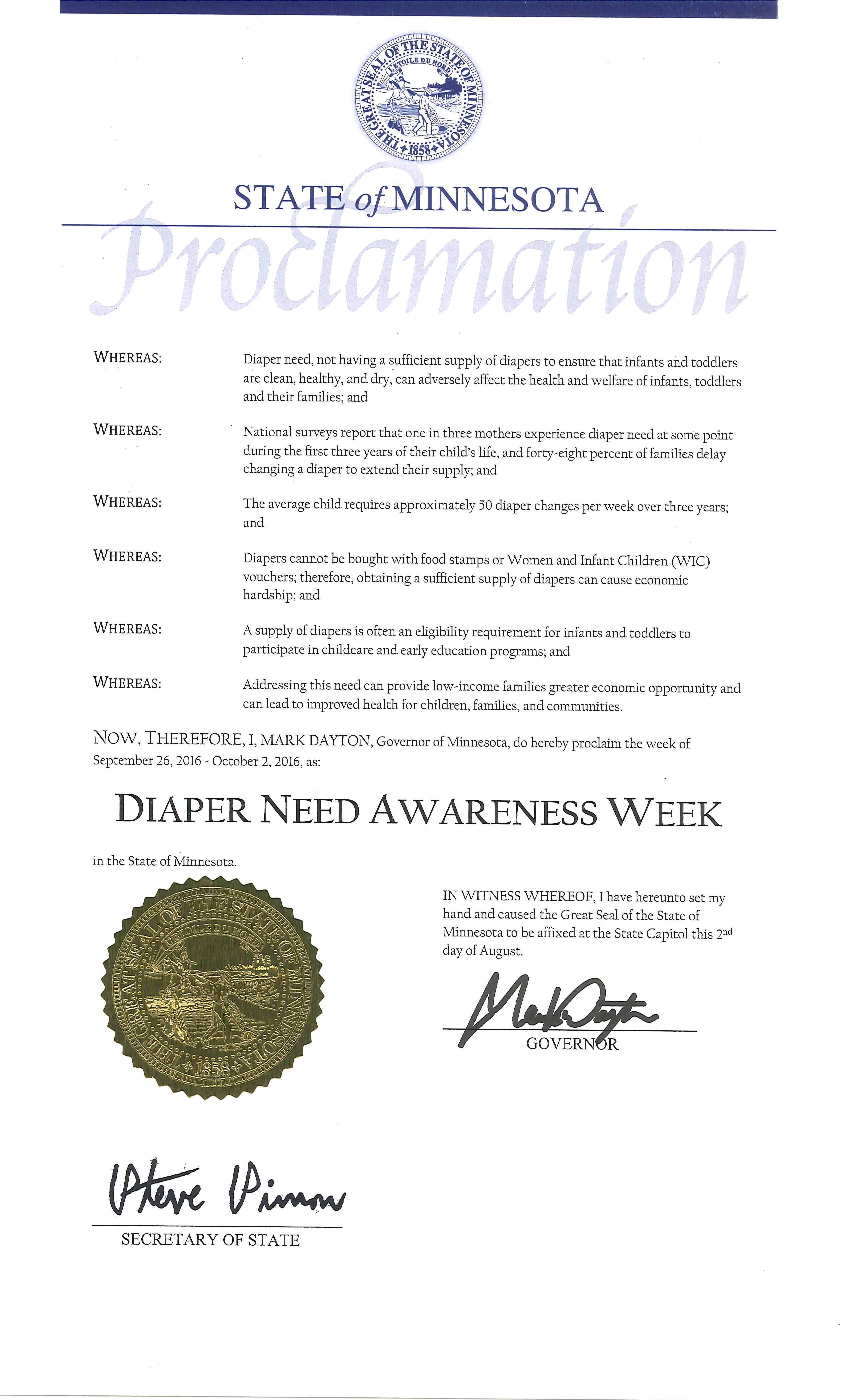 Minnesota Governor Mark Dayton's proclamation recognizing Diaper Need Awareness Week (Sept. 26 - Oct. 2, 2016) #DiaperNeed www.diaperneed.org