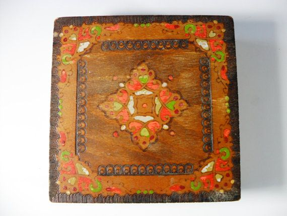 Vintage Wooden Box, Hand Painted Wooden Box, Pyrography Box, Colorful Storage Box
