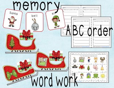 "Polar express themed memory game, ABC Order, and ""deliver the gift"" word work game."