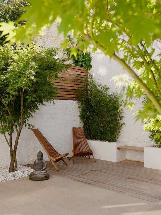Modern Patio Design Deck Bamboo Trees Budha Statue Chair And Sofa