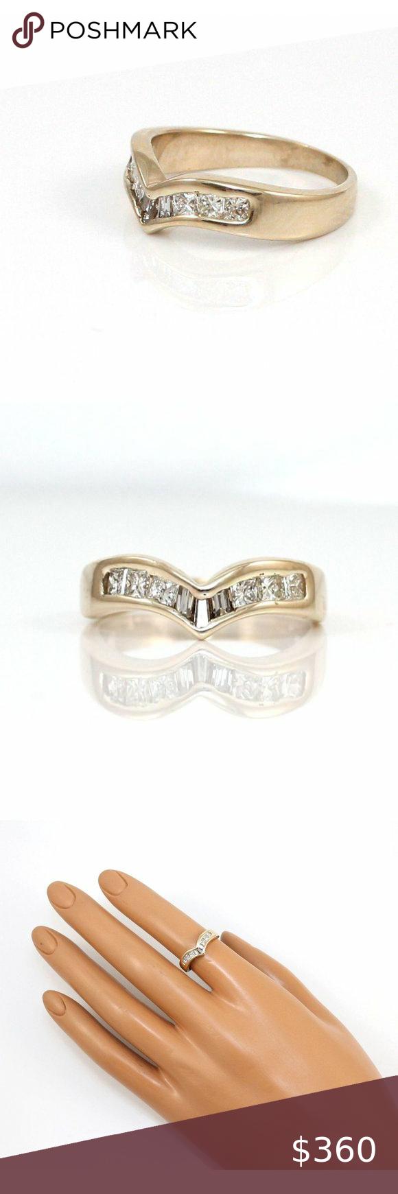 14k Nat Diamond Chevron Wedding Anniversary Band Anniversary Bands Womens Jewelry Rings Chevron Wedding