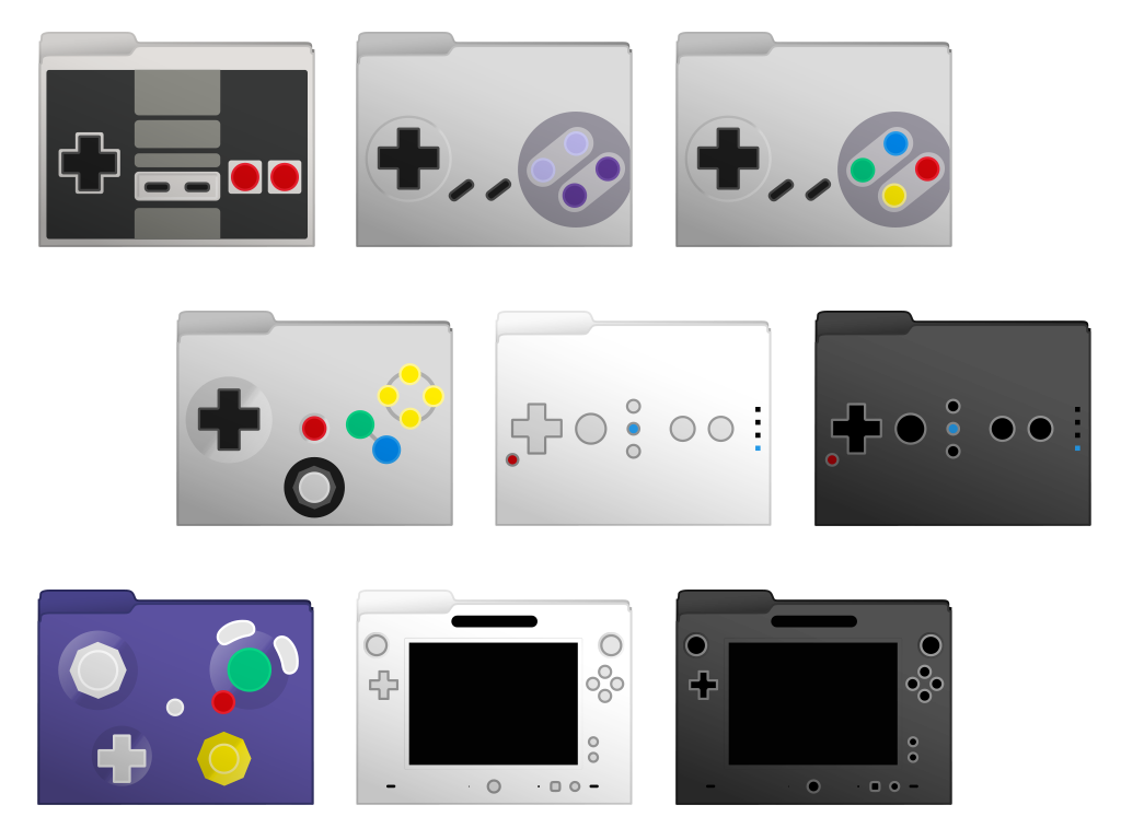 Nintendo Controllers Set Computer Folder Icons by