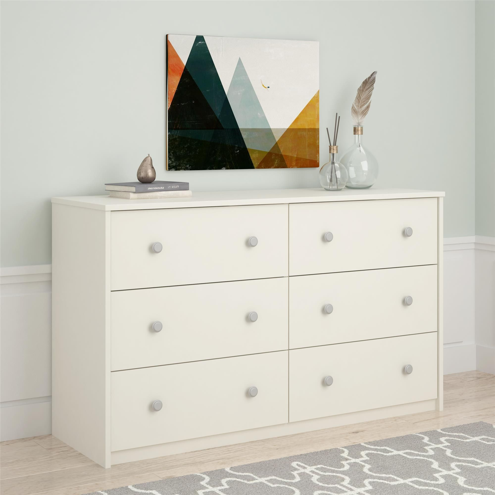 Ensure Your Clothing Is Stylishly And Neatly Stored In This Essential Home White Belmont 6 Drawer D Bedroom Furniture Dresser Bedroom Dressers Bedroom Makeover