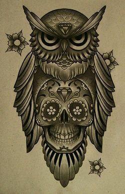 Old School Owl Tattoo Art Tattoos Sugar Skull Tattoos Tattoo