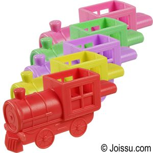 MINI TRAIN WHISTLES. These are perfect for party favors, Easter basket treats and Christmas stocking stuffers. Assorted colors. Each dozen polybagged. Size 2.5 Inches