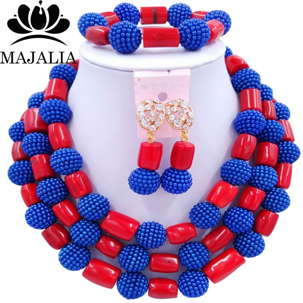 2017 Trendy african jewelry set blue Plastic and red Coral ...