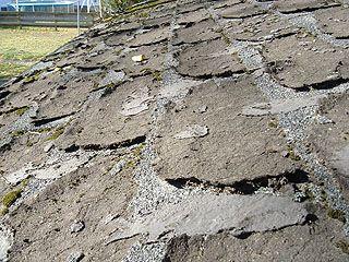 Badly Deteriorated Asphalt Roof Singles Roof Reroofing Leaking Roof