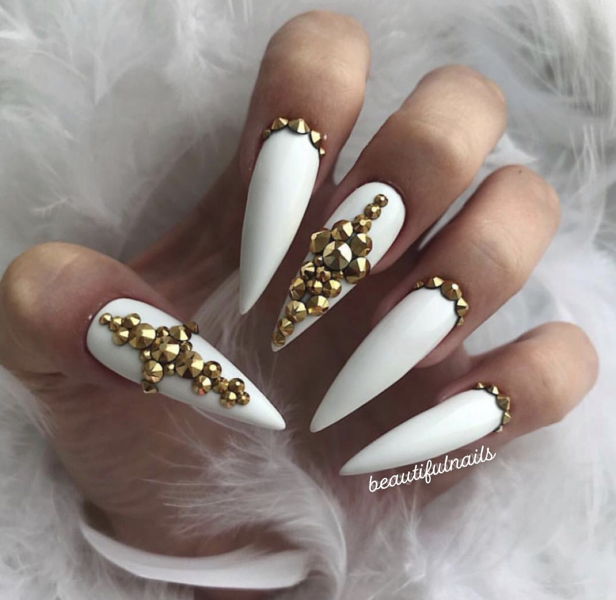 White Stiletto Nails With Gold Rhinestones With Images White