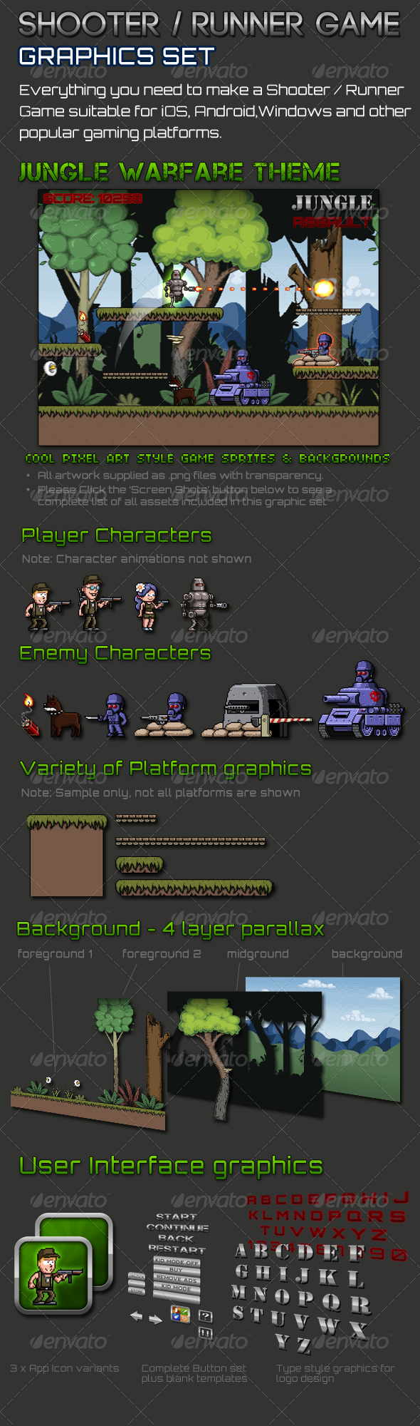 Shooter/Runner Game Graphic Set Runner games, Pixel