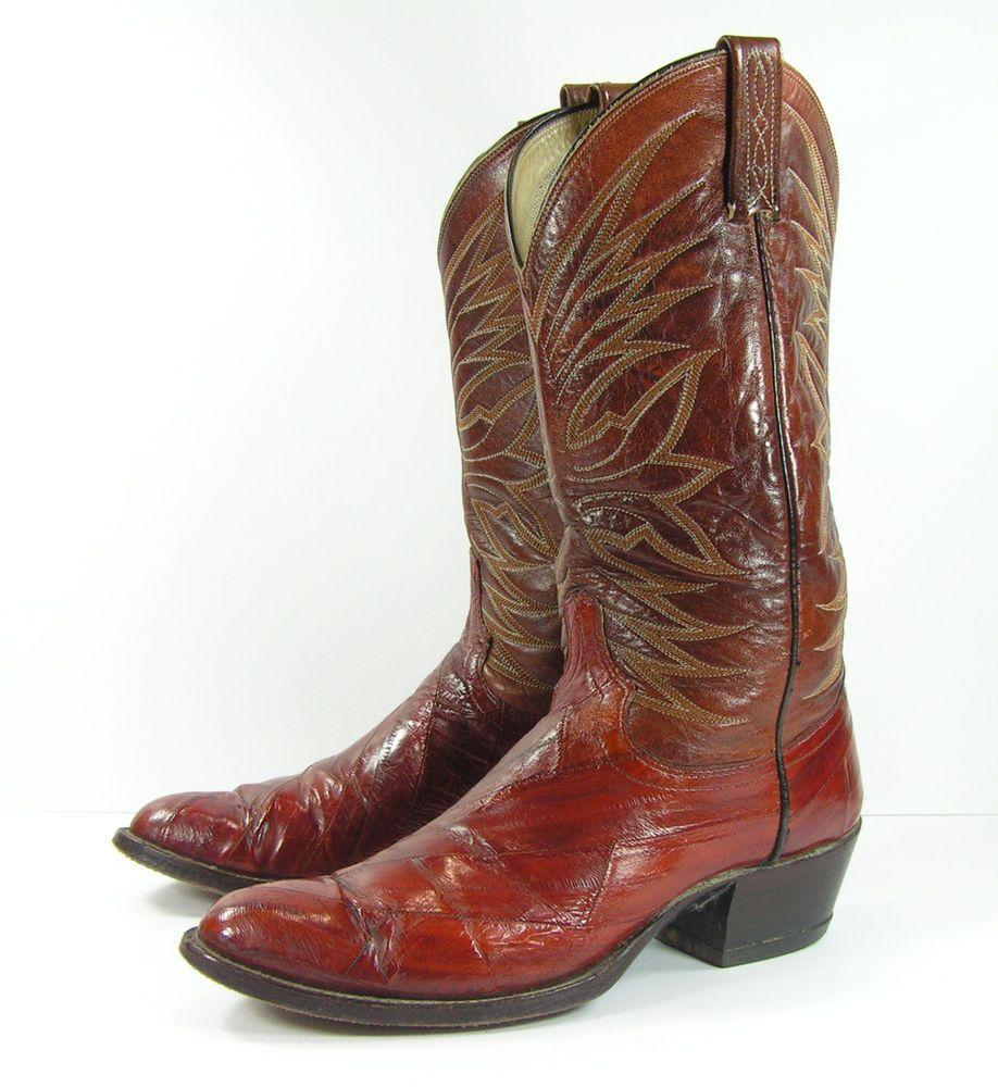 697c78b7a0e Details about Vintage Men's Dan Post Brown Leather Western Cowboy ...