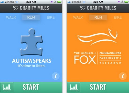 Charitable Giving iPhone App: Charity Miles