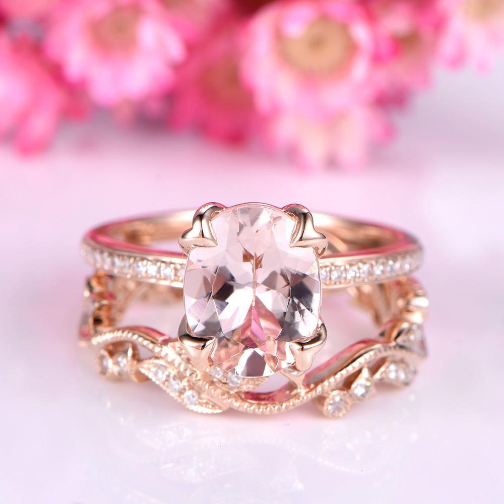 Morganite engagement ring set unique natural pink morganite ring ...